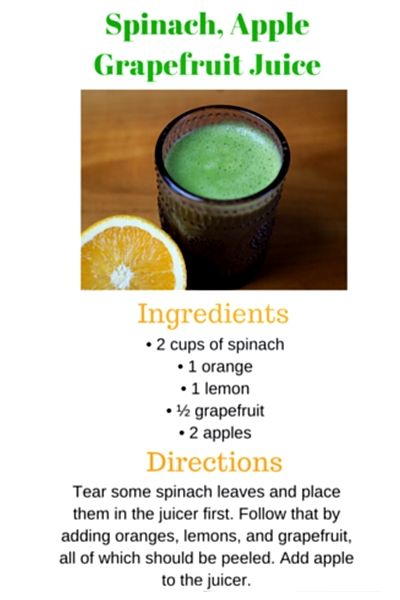 Juicing Recipe: Spinach, apple, grapefruit juice. This juice recipe includes some greens and lots of citrus fruits to give you more energy when you start your day. You can mix it up any way you like by adding in more citrus fruits. #juicingforenergy