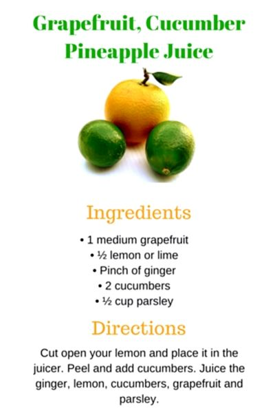 Juicing Recipe: Grapefruit, cucumber juice. This juice is very refreshing and includes fat-burning ingredients like lemon and grapefruit. #juicingrecipes